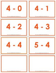 subtraction flash cards 4s - within 5 color