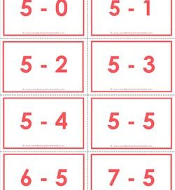 subtraction flash cards - 5s - 0-10 - color