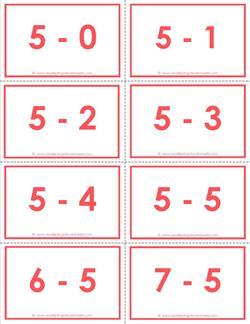 subtraction flash cards 0 20 5 39 s color. Black Bedroom Furniture Sets. Home Design Ideas