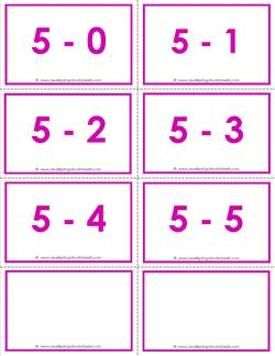 subtraction flash cards - 5s - within 5 - color