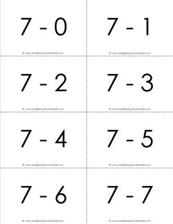 subtraction flash cards 7s - 0-10 - b&w