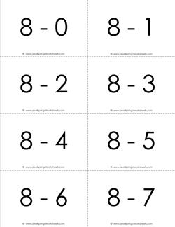 Subtraction Flash Cards 8's 0-10 set in black and white