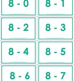 subtraction flash cards - 8s - 0-10 - color