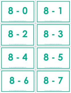 subtraction flash cards - 8s - 0-10 - color