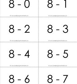 subtraction flash cards 0-20 8's b&w
