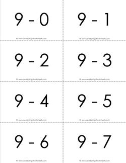 subtraction flash cards - 9s - 0-10 - b&w