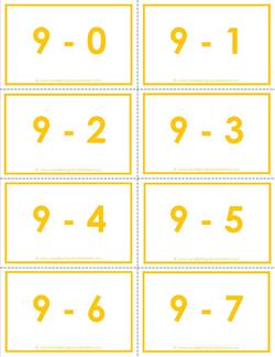 Subtraction Flash Cards 9's 0-10 set in Color