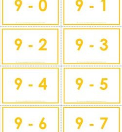 subtraction flash cards 0-20 9's color