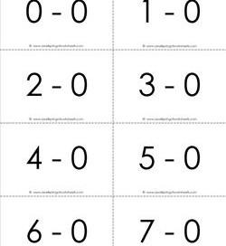 subtraction flash cards - complete set - 0-10 - b&w