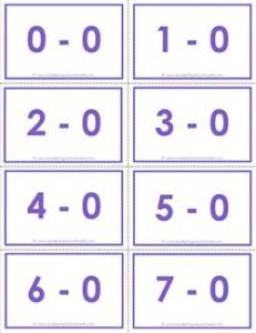 subtraction flash cards - complete set - 0-10 - color