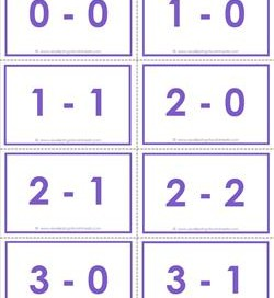 subtraction flash cards 0-20 complete set color
