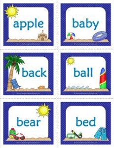 Summer Themed Dolch Sight Word Flashcards Nouns | A Wellspring