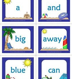 summer dolch sight word flashcards pre-primer