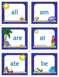 summer dolch sight word flashcards primer