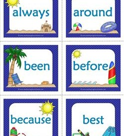 summer dolch sight word flashcards second grade