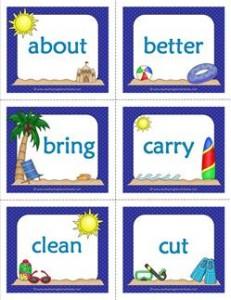 summer dolch sight word flashcards third grade