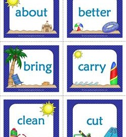 summer dolch sight word flashcards third grade