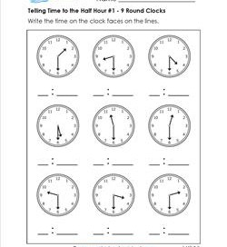 Telling Time to the Half Hour #1 - 9 Round Clocks