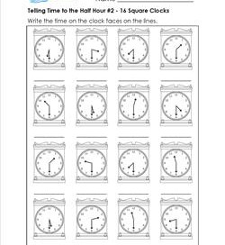 Telling Time to the Half Hour #2 - 16 Square Clocks