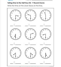 Telling Time to the Half Hour #2 - 9 Round Clocks