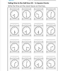 Telling Time to the Half Hour #3 - 16 Square Clocks