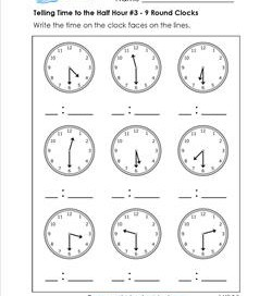 Telling Time to the Half Hour #3 - 9 Round Clocks