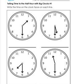 Telling Time to the Half Hour with Big Clocks #1