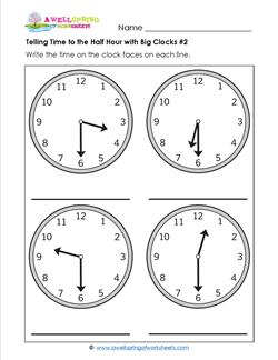 Telling Time to the Half Hour with Big Clocks #2