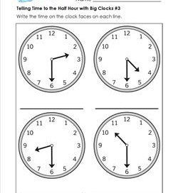 Telling Time to the Half Hour with Big Clocks #3