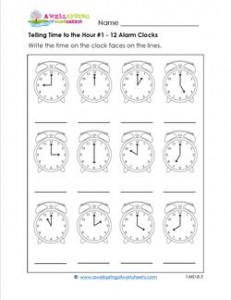 Telling Time to the Hour #1 - 12 Alarm Clocks