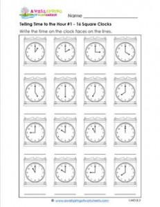 Telling Time to the Hour #1 - 16 Square Clocks