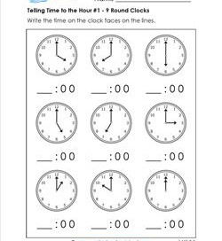 Telling Time to the Hour for First Grade #1 - 9 Round Clocks