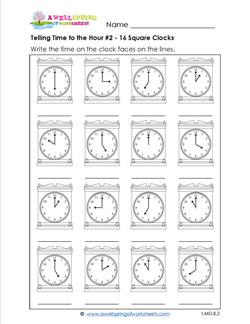 Telling Time to the Hour #2 - 16 Square Clocks