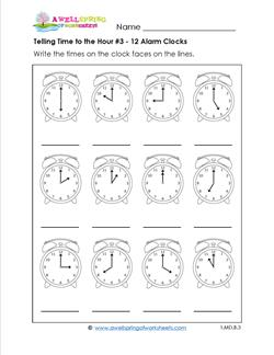 Telling Time to the Hour #3 - 12 Alarm Clocks