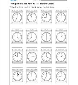 Telling Time to the Hour #3 - 16 Square Clocks