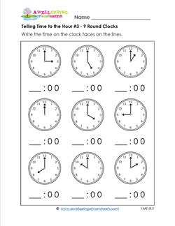 Telling Time to the Hour for First Grade #3 - 9 Round Clocks