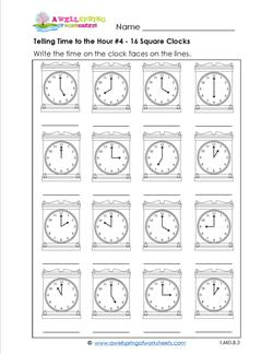 Telling Time to the Hour #4 - 16 Square Clocks
