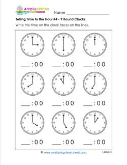 Telling Time to the Hour for First Grade #4 - 9 Round Clocks