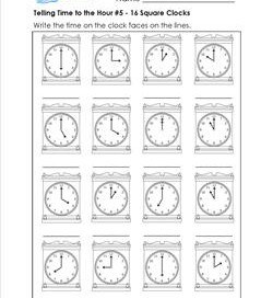 Telling Time to the Hour #5 - 16 Square Clocks
