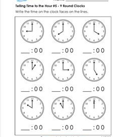 telling time to the hour worksheets for first grade. Black Bedroom Furniture Sets. Home Design Ideas