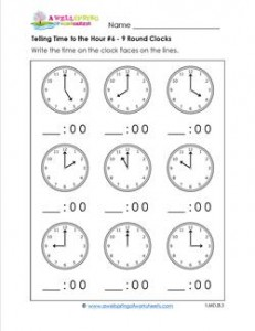 Telling Time to the Hour for First Grade #6 - 9 Round Clocks
