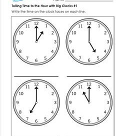 Telling Time to the Hour with Big Clocks #1