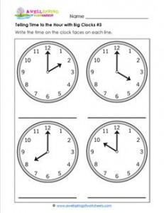 Telling Time to the Hour with Big Clocks #3