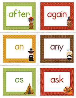 thanksgiving dolch sight word flashcards first grade
