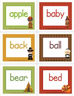 thanksgiving dolch sight word flashcards nouns