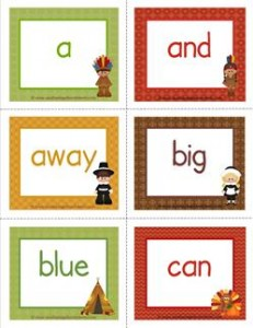 thanksgiving dolch sight word flashcards pre-primer