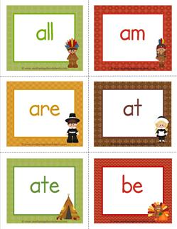 thenksgiving dolch sight word flashcards primer