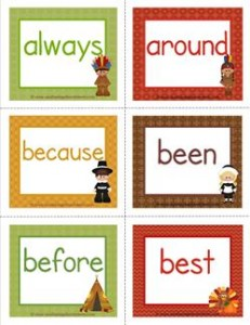 thanksgiving dolch sight word flashcards second grade