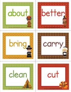 thanksgiving dolch sight word flashcards third grade