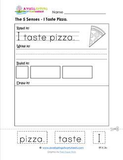 the 5 senses - i taste pizza